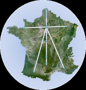 les lignes de la croix que les rois ont tracée sur la Francee